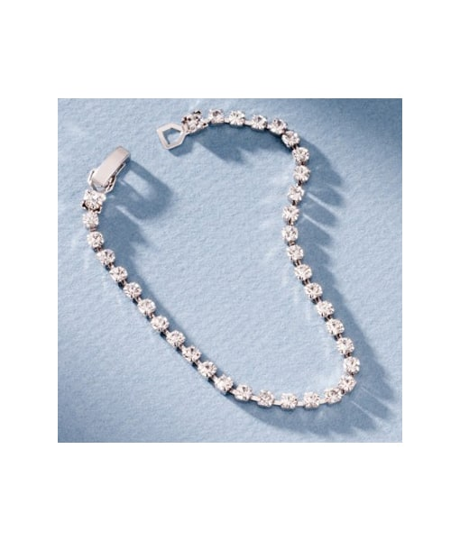San Tropez Fashion Jewelry Rhinestone Bracelet - White Gold